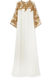 Marchesa Embellished Tulle Trimmed Silk Gown Ivory