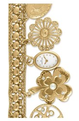 Anne Klein 'S Oval Case Charm Bracelet Watch