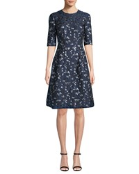 Lela Rose Holly Elbow Sleeve Floral Brocade Fit And Flare Dress Navy