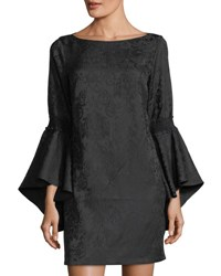 Laundry By Shelli Segal Flounce Sleeve Jacquard Dress Black