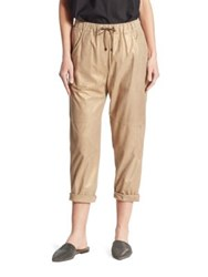 Brunello Cucinelli Leather Jogger Pants Gold