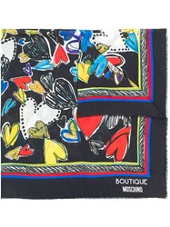 Boutique Moschino Heart Patterned Shawl Scarf Black