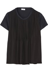 Jil Sander Two Tone Pleated Satin And Cotton Jersey Top Black