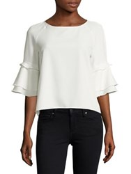 Design Lab Lord And Taylor Ruffle Sleeve Blouse Ivory