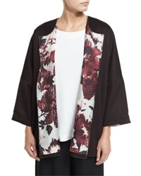 Eskandar Slope Shoulder Jacket W Printed Lining Port Eggplant
