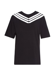 Y 3 Striped Neckline Stretch Cotton T Shirt