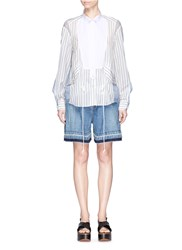 Sacai Pique Bib Stripe Silk Organza Panel Shirt Multi Colour
