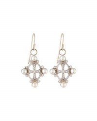 Jude Frances 18K White Gold Diamond And Button Pearl Drop Earrings