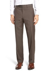 Jb Britches Men's Flat Front Plaid Wool Trousers Taupe