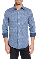 Bugatchi Men's Shaped Fit Graphic Print Sport Shirt