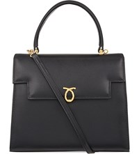 Launer Traviata Leather Tote Black