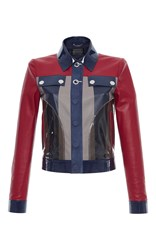 Versace Color Block Leather Jacket Red Blue Grey
