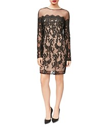 Betsey Johnson Illusion Lace Sheath Dress Black