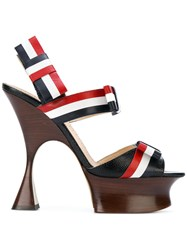 Thom Browne Open Toe Shaped Platform Heel 15 Cm With Bow Strap In Multicolour