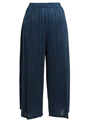 Issey Miyake Sara Sara Pleated Cropped Trousers Dark Blue