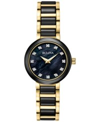 Bulova Women's Diamond Accent Black Ceramic And Gold Tone Stainless Steel Bracelet Watch 30Mm 98P159