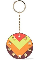 Valentino Studded Printed Leather Keychain Multicolor