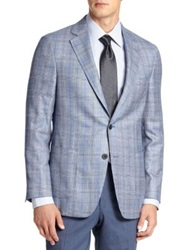Saks Fifth Avenue Samuelsohn Wool Silk And Cashmere Check Sportcoat Light Navy