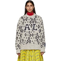 Calvin Klein 205W39nyc Off White And Navy Yale Edition University Sweater