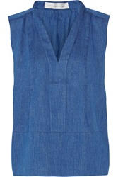 Victoria Beckham Pleated Cotton Chambray Top