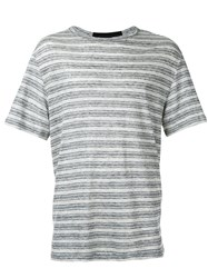 Alexander Wang T By Striped T Shirt Grey