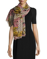 Gucci Voile Bengal Gg Square Scarf Rope Pink Rope Pink
