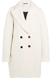 Carven Wool Blend Boucle Coat Ivory