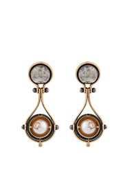 Elie Top Diamond Pearl Silver And Gold Pluton Earrings
