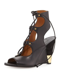 Chloe Chloe Leather Gladiator Wedge Sandal Black