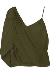 Haute Hippie Asymmetric Wrap Effect Silk Crepe De Chine Top Army Green