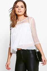 Boohoo Nelly Mesh Insert Smock Top White