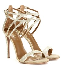 Aquazzura Lucille 105 Glitter Sandals Gold