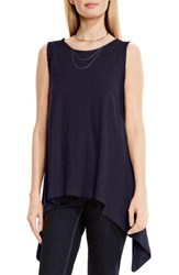 Vince Camuto Women's Two By Lace Inset Handkerchief Tank Evening Navy