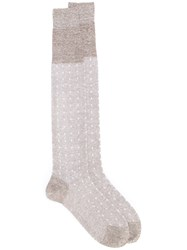 Fashion Clinic Timeless Dot Patterned Socks Nude Neutrals