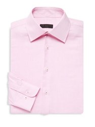 Ike Behar Regular Fit Textured Cotton Shirt Pink