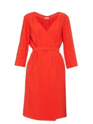 Nina Ricci Mid Weight Crepe Wrap Dress Red
