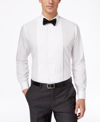 Alfani Red Fitted French Cuff Tuxedo Performance Shirt White