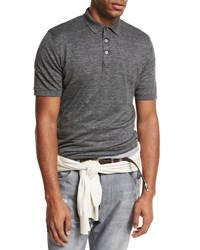 Brunello Cucinelli Linen Cotton Polo Shirt Dark Gray