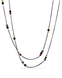 David Yurman Bead Necklace With Black Onyx Hematine And Gold Silver Yellow Gold