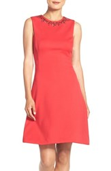 Maggy London Petite Women's Embellished Scuba Fit And Flare Dress Cosmic Red