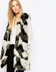 Whistles Patchwork Fur Gilet Multicolour