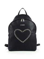 Love Moschino Chain Heart Faux Leather Backpack Black