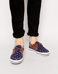 Asos Boat Shoes With Anchor Print Blue