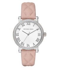 Michael Kors Norie Silvertone Stainless Steel Double Pave Bezel Quilted Leather Strap Watch Pink