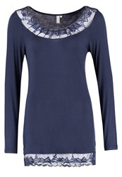 Cream Florence Long Sleeved Top Royal Navy Blue Dark Blue