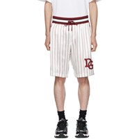 Dolce And Gabbana Off White Red Silk 'Dg' Shorts