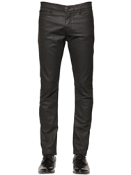 The Kooples 16Cm Leather Effect Stretch Denim Jeans Black