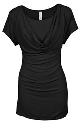 Women's Nurture Elle Cowl Neck Short Sleeve Nursing Top Black
