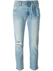 Levi's Ripped Detailing Cropped Jeans Blue