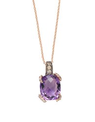 Effy Viola Amethyst Diamond And 14K Rose Gold Pendant Necklace